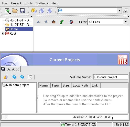 k3b Daten CD erstellen