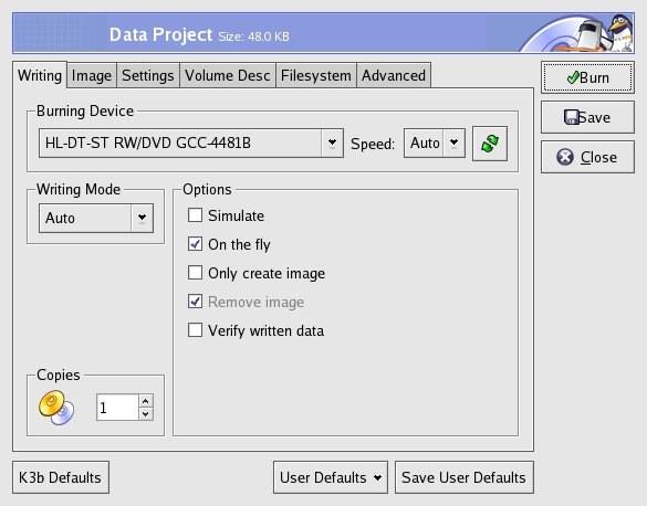 k3b Daten CD brennen